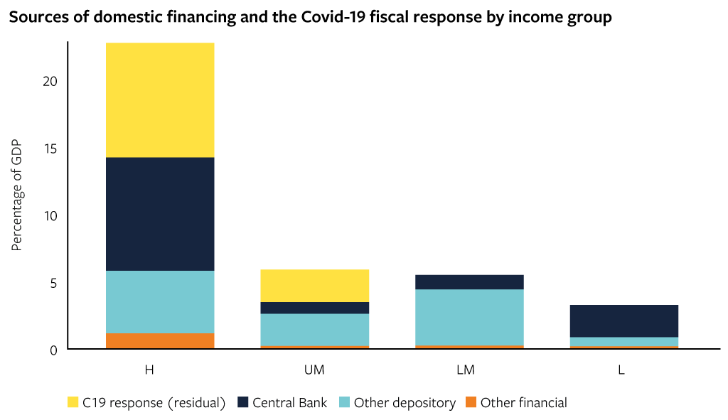 Sources of domestic financing and the Covid-19 fiscal response by income group