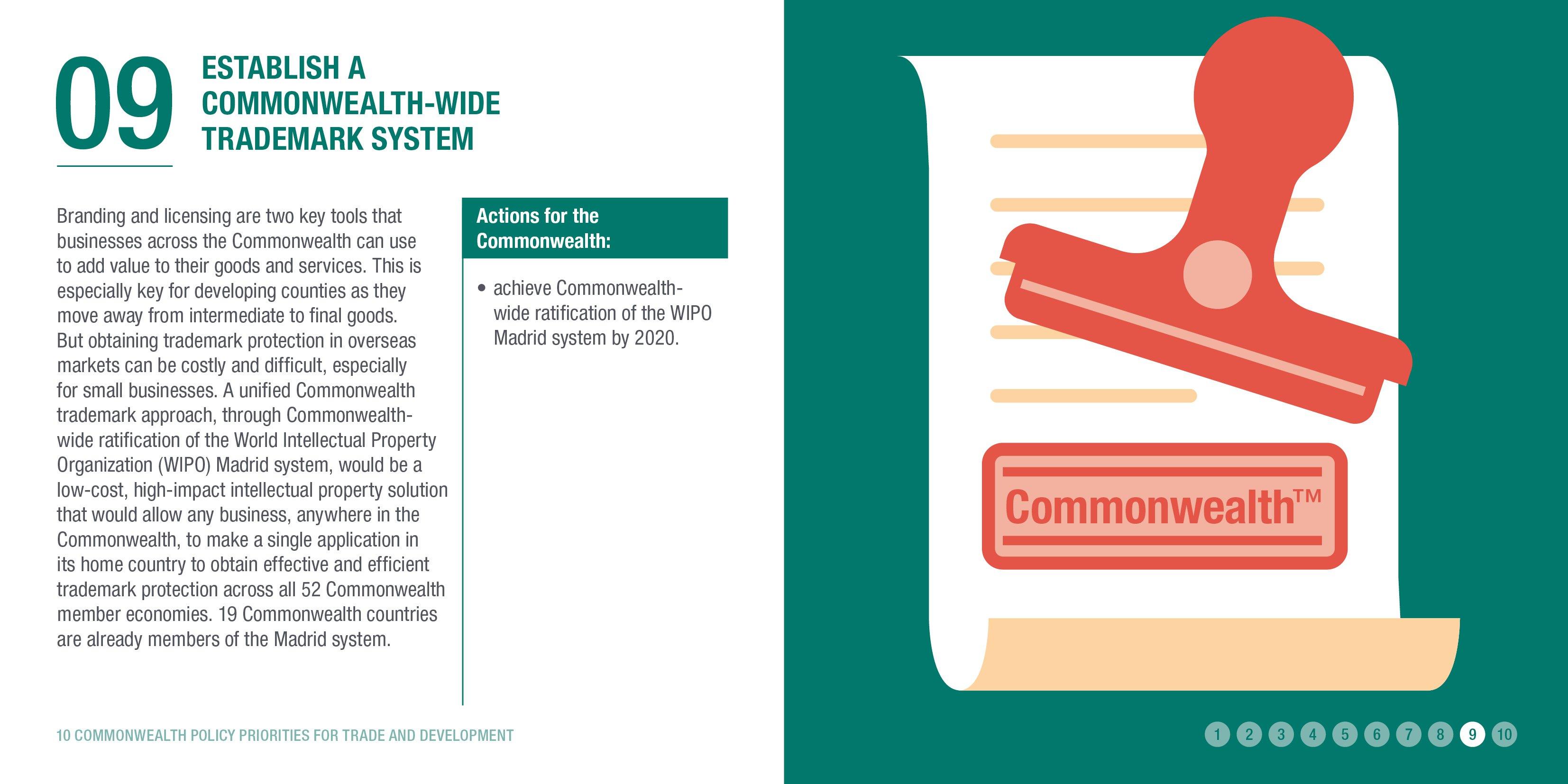 Establish a Commonwealth-wide trademark system