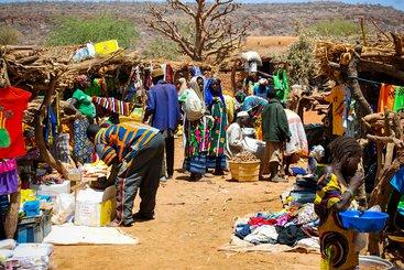 A market in Bandiagara, Mali
