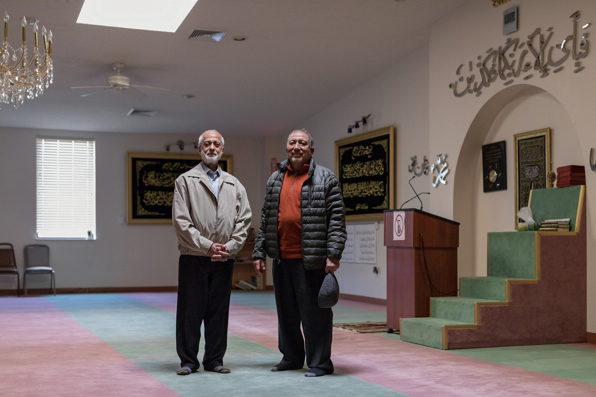 Photo: immigrants from India and Pakistan stand inside the Princeton Masjid, home of the Islamic Society of Appalachian Region. Credit: Jessie Parks/ODI, 2018