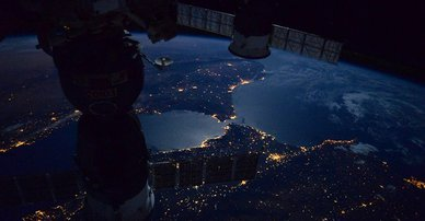 Picture of Earth at night. NASA Marshall Space Flight Center.