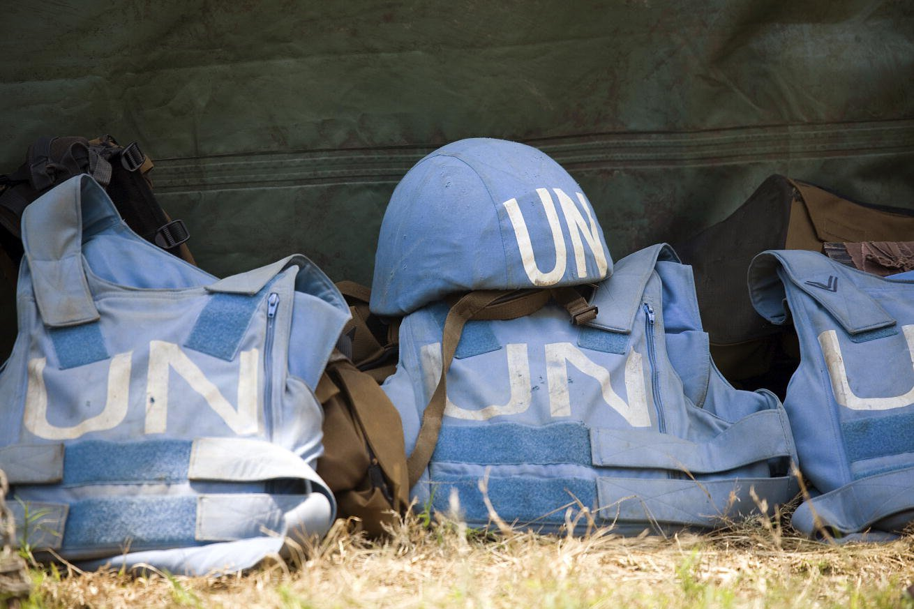 Helmet and flack jackets of members of the United Nations Peacekeeping Mission in the Democratic Republic of the Congo