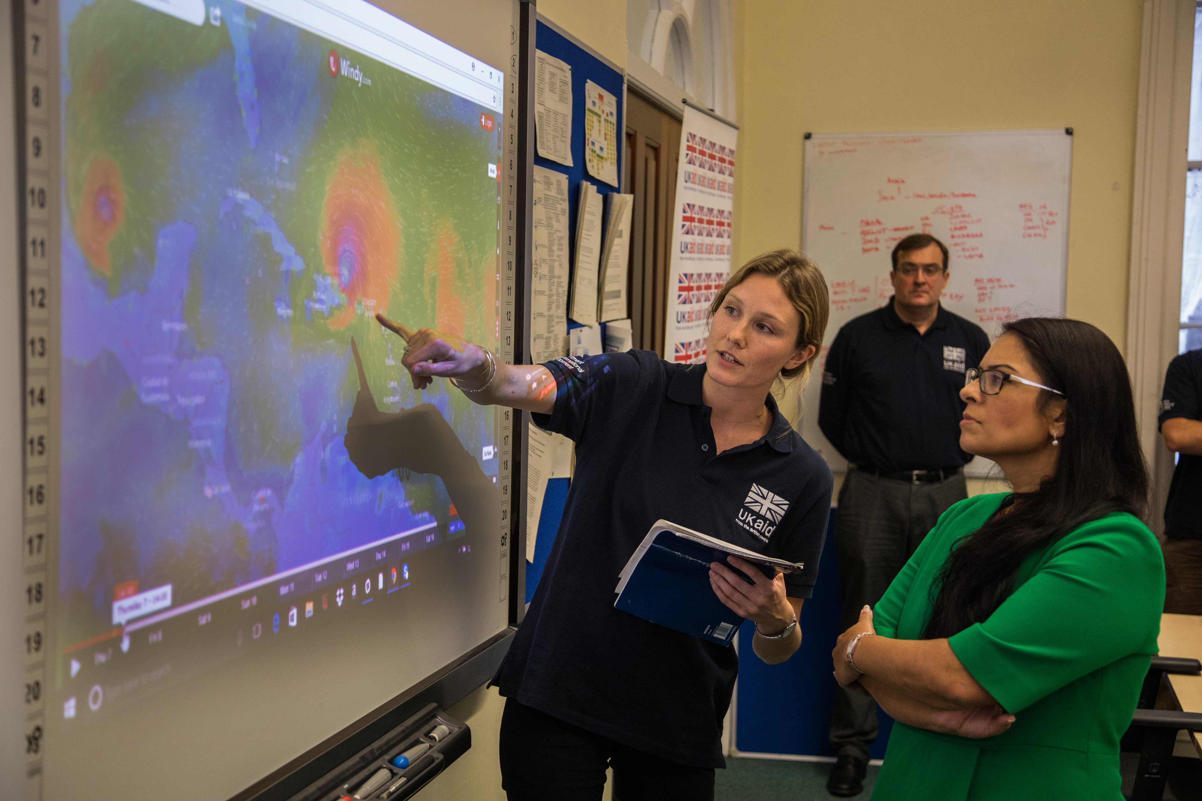 Priti Patel in the DFID UK aid Hurricane Irma Crisis Operations Room, as staff coordinate relief and supplies for those affected. Picture: Michael Hughes/DFID (CC BY 2.0)