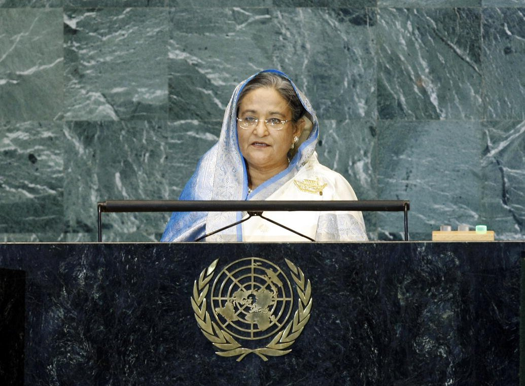 Prime Minister Sheikh Hasina of Bangladesh addresses the UN General Assembly. UN Photo/Paulo Figueiras (CC BY-NC-ND 2.0)