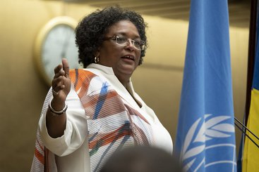 Prime Minister of Barbados Mia Mottley speaking at the 16th Raúl Prebisch Lecture in Geneva, 2019. Photo: Timothy Sullivan/UNCTAD (CC BY-SA 2.0)