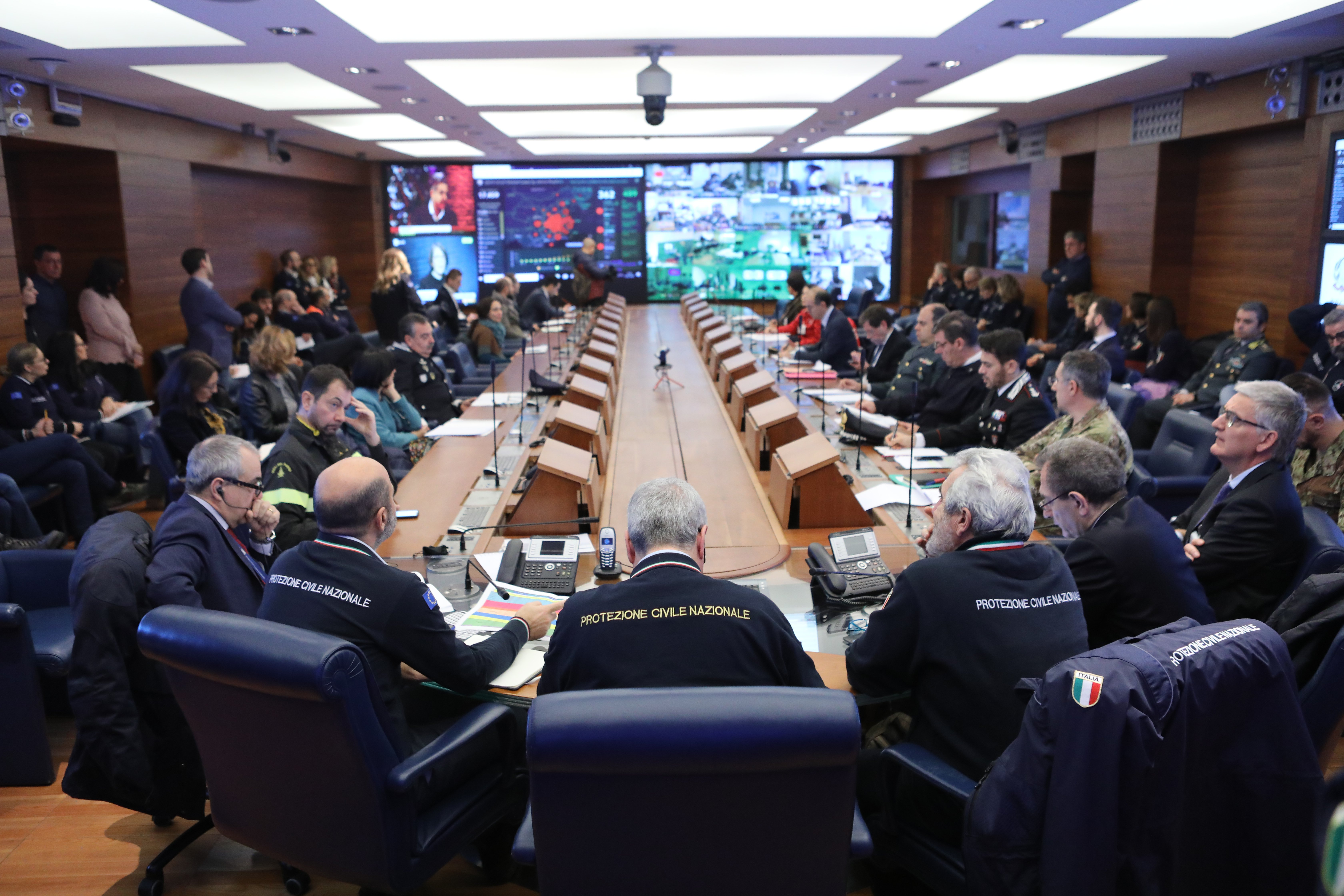 Officials gather in Rome in response to the coronavirus outbreak. Photo: Dipartimento Protezione Civile (CC BY 2.0).