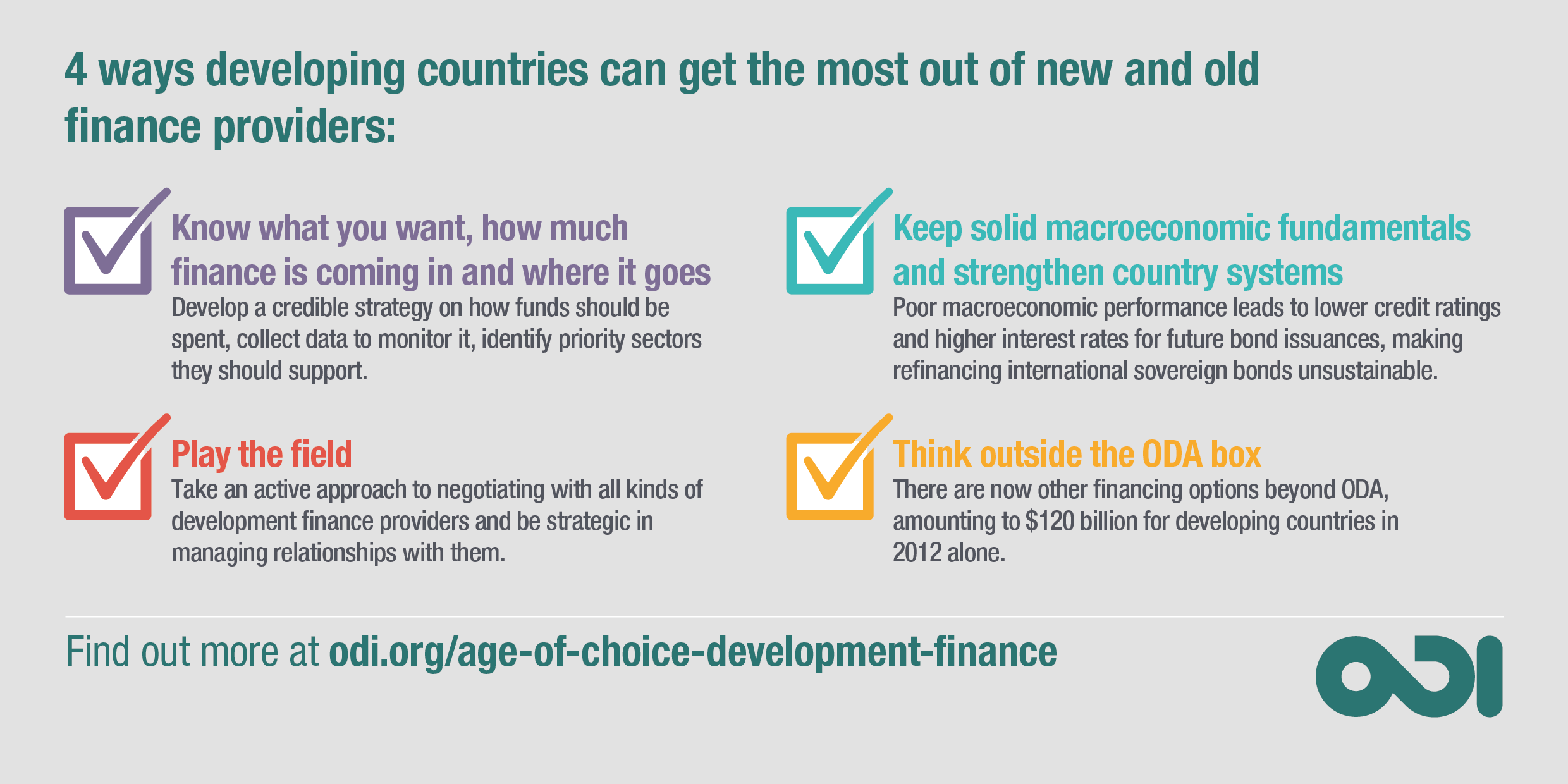 Infographic: four ways developing countries can get the most out of new and old finance providers