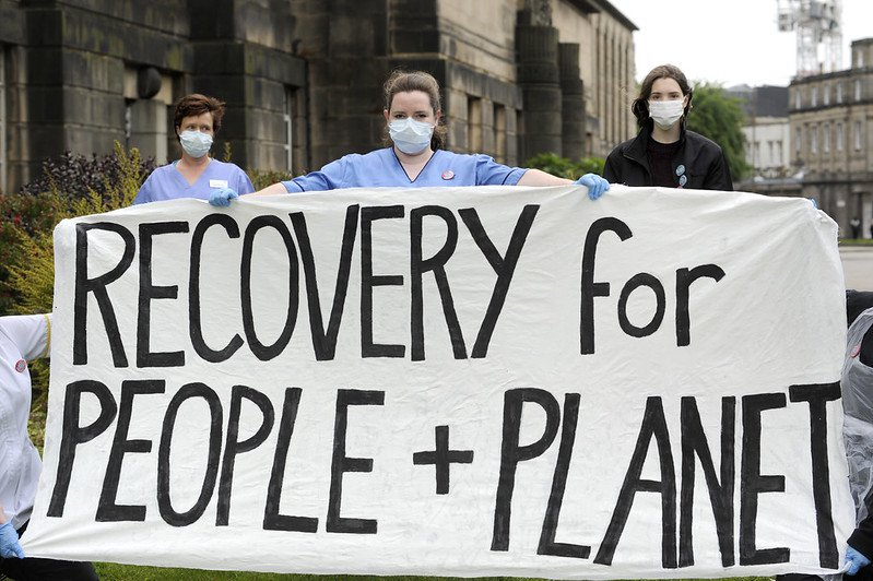 Climate and coronavirus protests. Photo: Recovery for People and Planet Campaign 08 CC BY 2.0