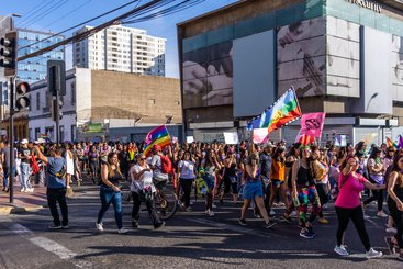 A protest on International Women's Day 2020 in the northern Chilean town of Antofagasta. Feminist marches took place all over the country organised by local women's groups.