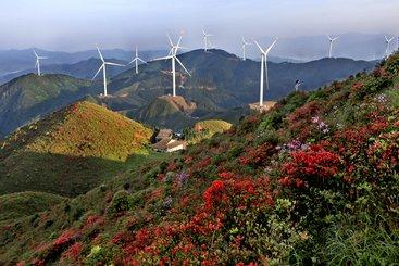 Wind turbines, Jiangxi Province, China