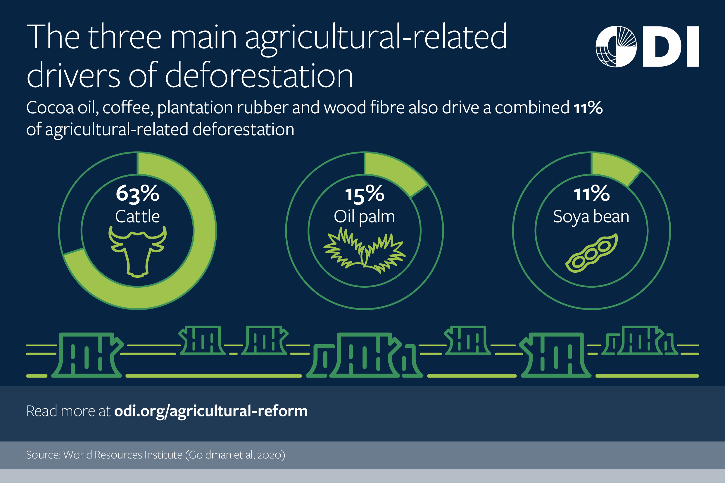 The three main agricultural-related drivers of deforestation.