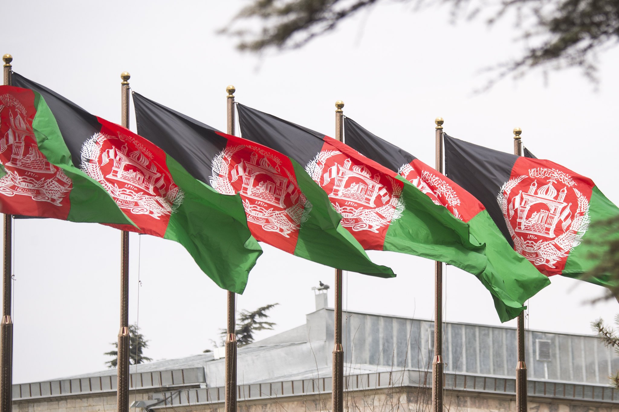 The Afghan Flag waves above the presidential palace, 2018