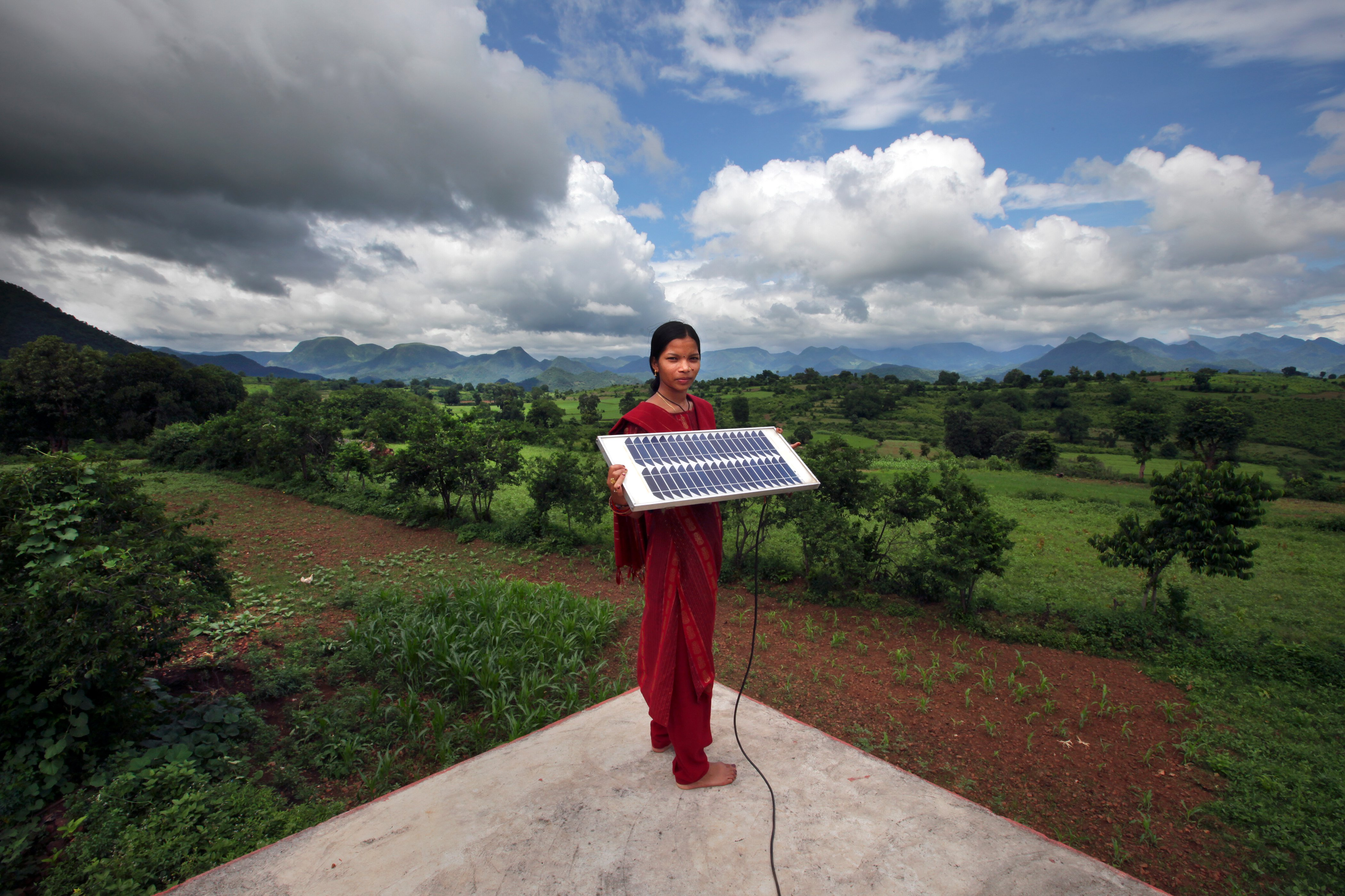 A woman trained in solar panel engineering in Orissa, India