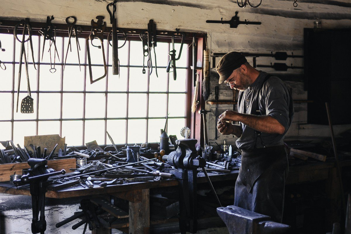 A busy craftsman in his studio