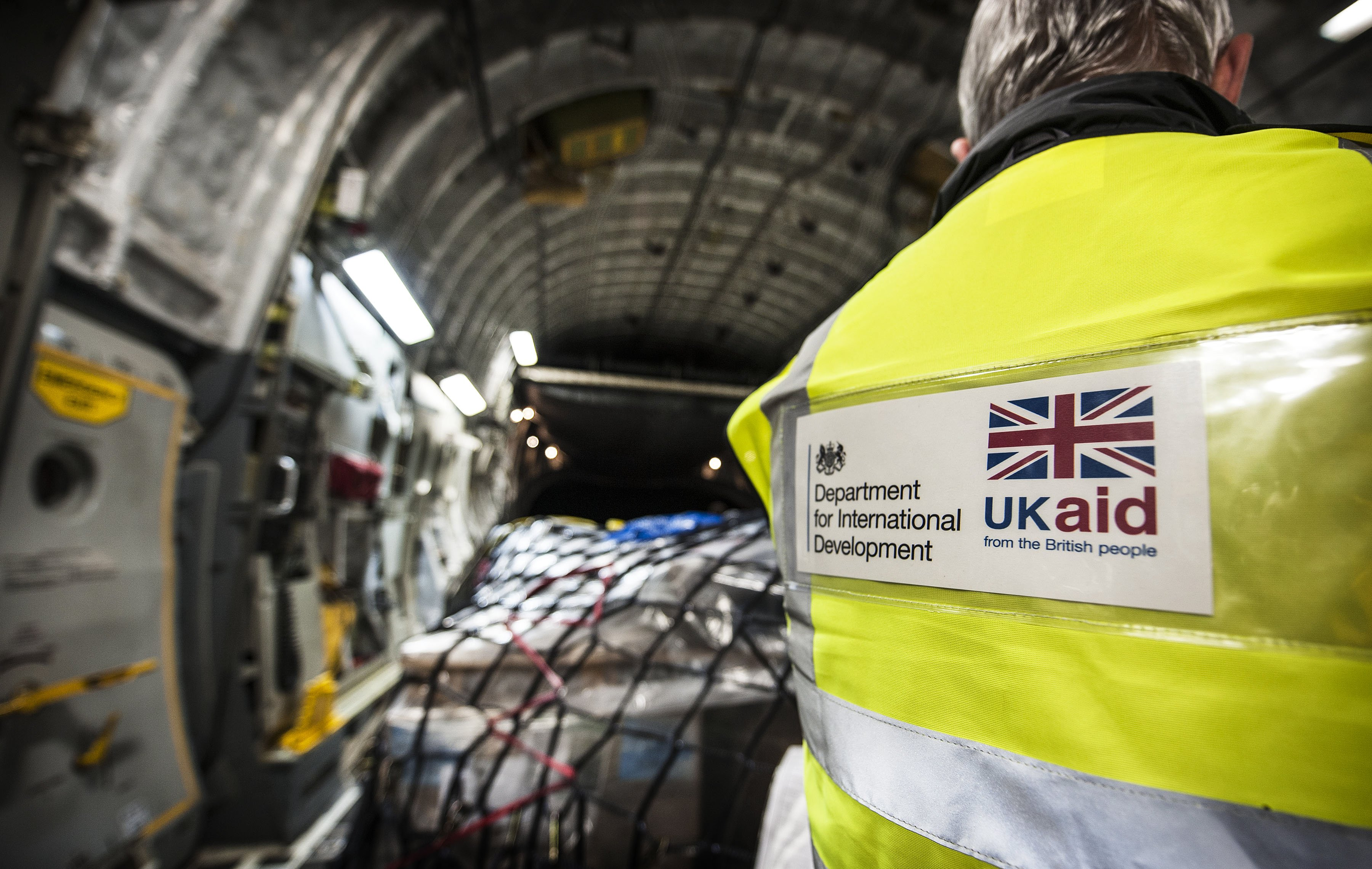 DfID worker checking supplies on a RAF C17 bound for the Philippines. Photo: Sgt Ralph Merry/ABIPP RAF