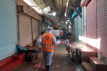 Covid-19 disinfection in Garhi Yaseen Market in District Shikarpur, Sindh, Pakistan.