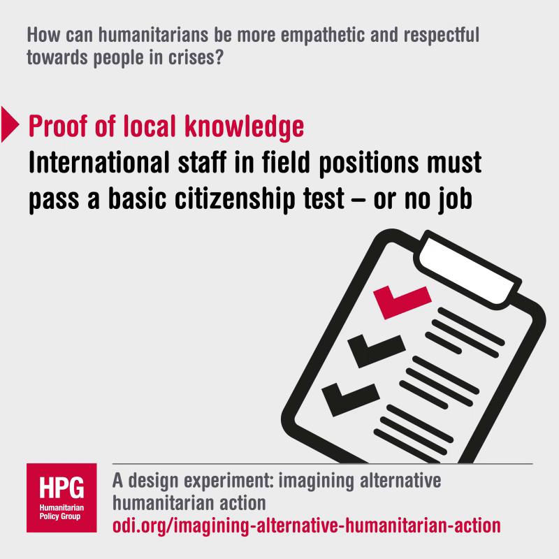 How can humanitarians be more empathetic and respectful towards people in crises?