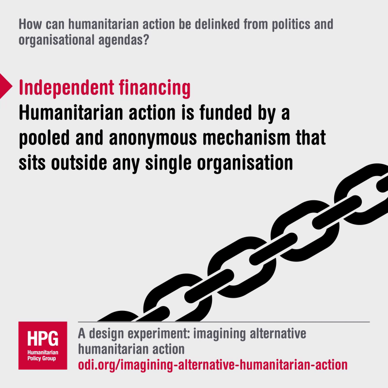 How can humanitarian action be linked from politics and organisational agendas?