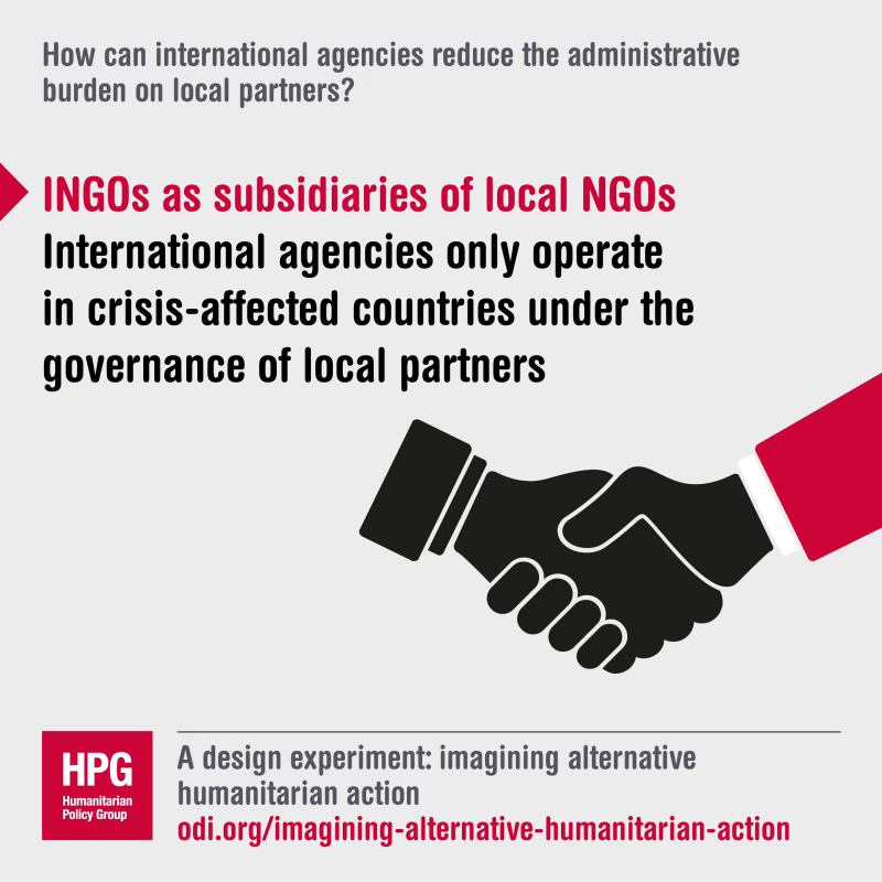 How can international agencies reduce the administrative burden on local partners?