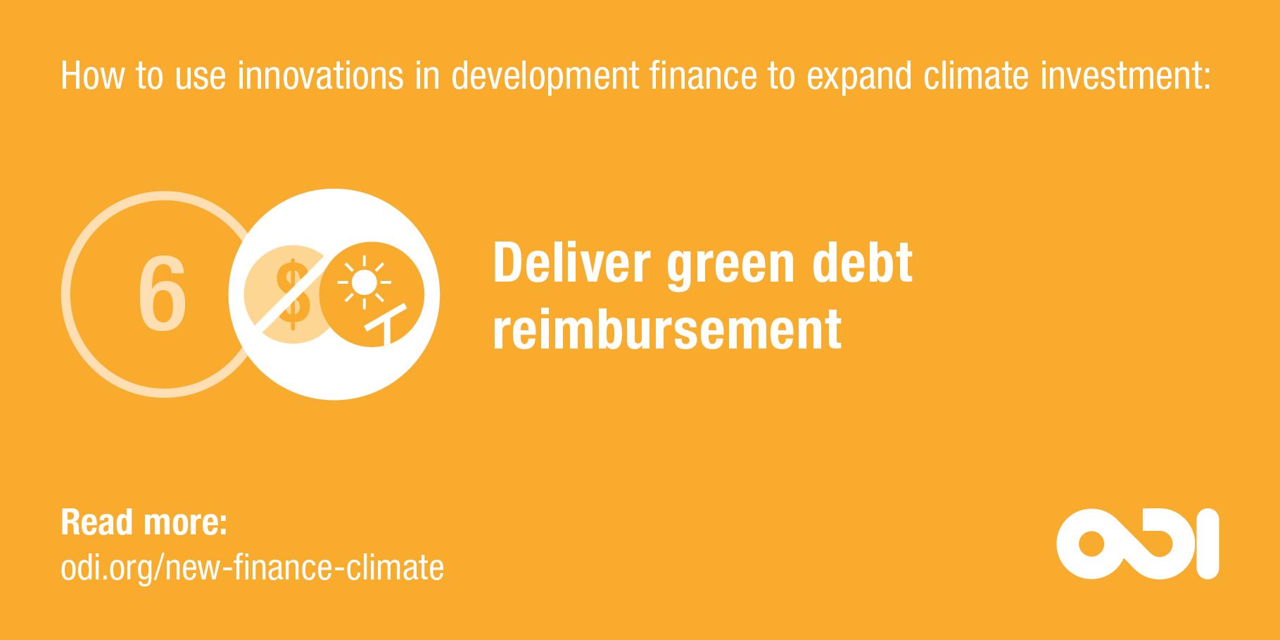 Development finance proposal 6: deliver green debt reimbursement