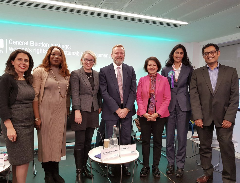 Representatives from the Brexit, Green, Labour, Liberal Democrat and Women's Equality parties participating in ODI and ActionAid's hustings event. Photo: ODI