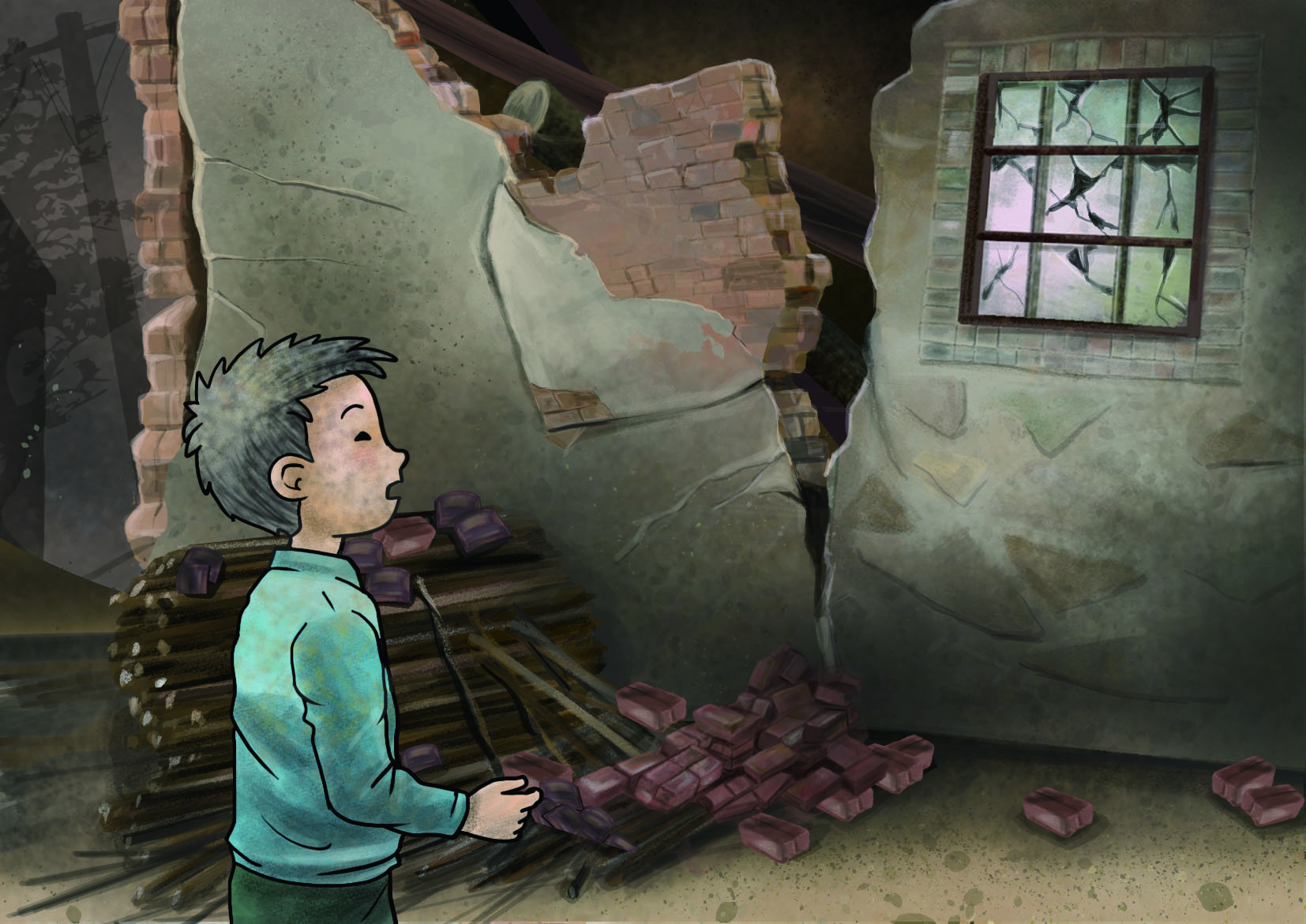 Xiaoshuai finds his house destroyed by an earthquake – an illustration from PAGER-O project's earthquake resilience scenario narrative. Illustrator: Siu Kuen Lai
