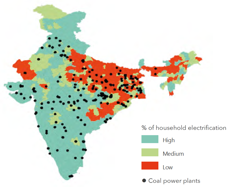 Map: household electrification rates around major coal fired power plants in India