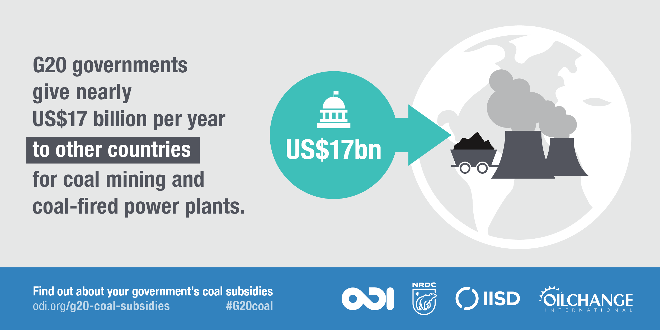 G20 governments give nearly US$17billion per year to other countries for coal mining and coal-fired power plants. Image: ODI