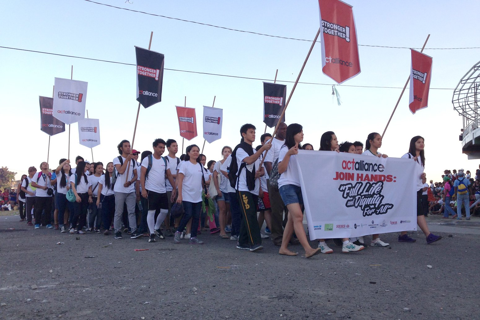 Groups from INGOs, NGOs, and communities rallied to remember the deceased and demand accountability from the duty bearers on the 1st anniversary of Typhoon Haiyan, November 2014.