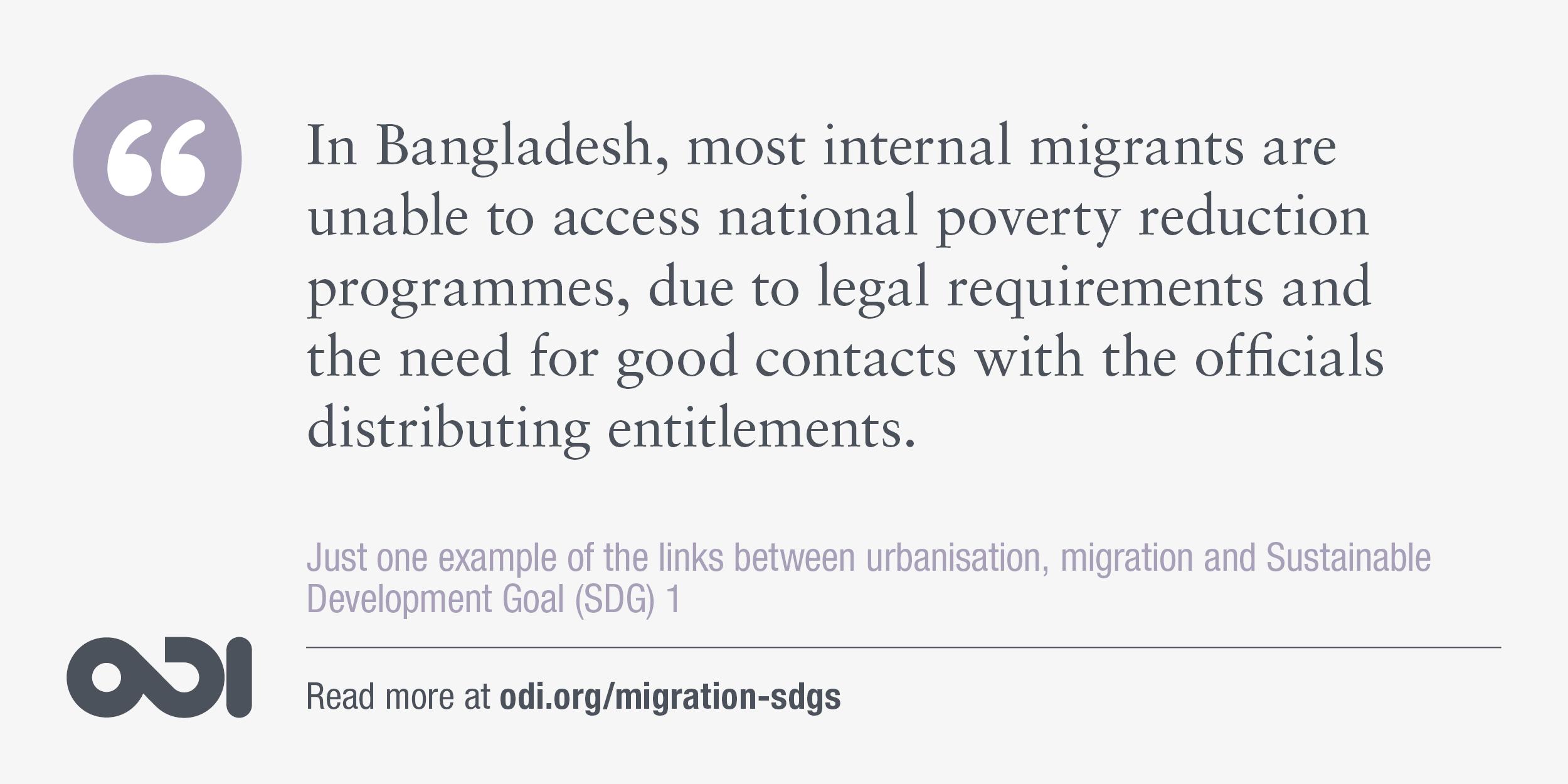 The links between urbanisation, migration and SDG 1.