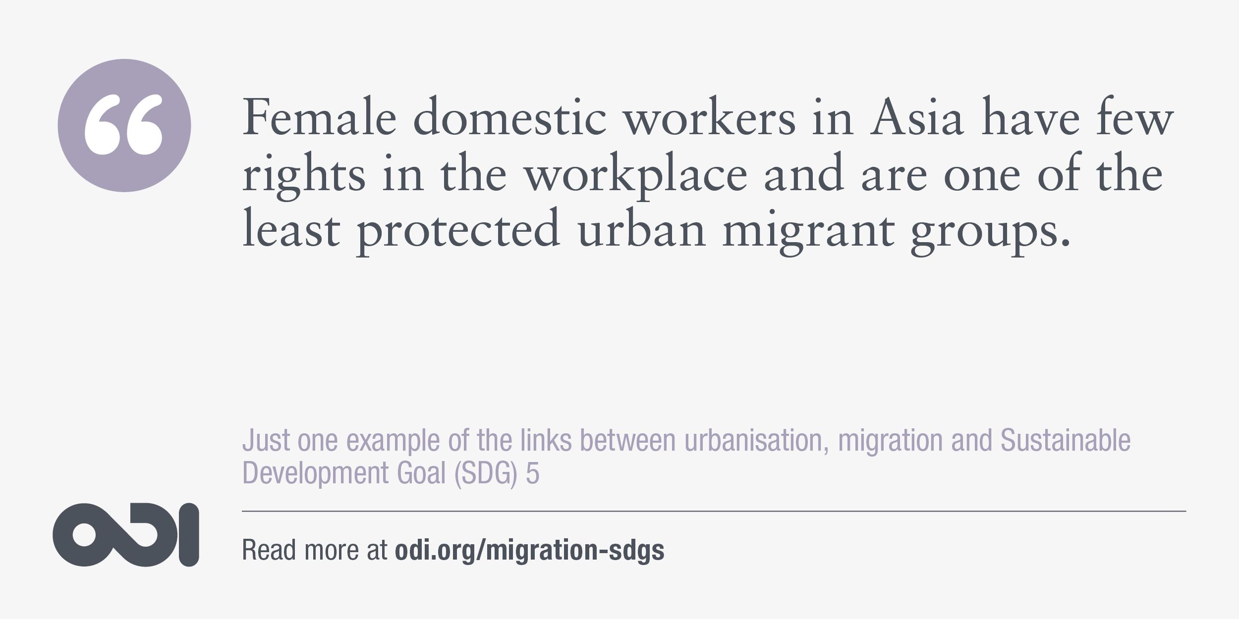 The links between urbanisation, migration and SDG 5.