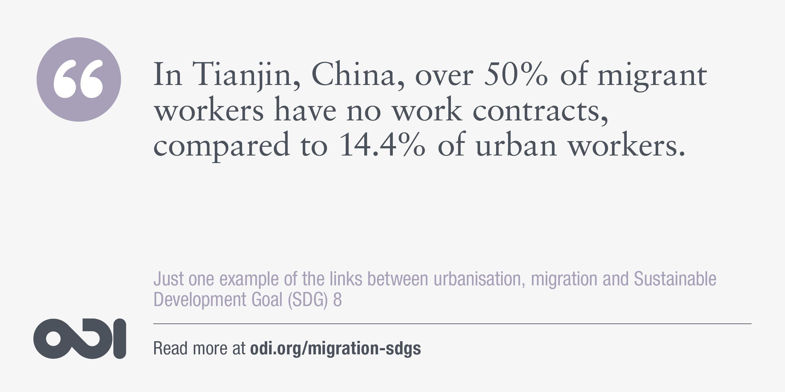 The links between urbanisation, migration and SDG 8.