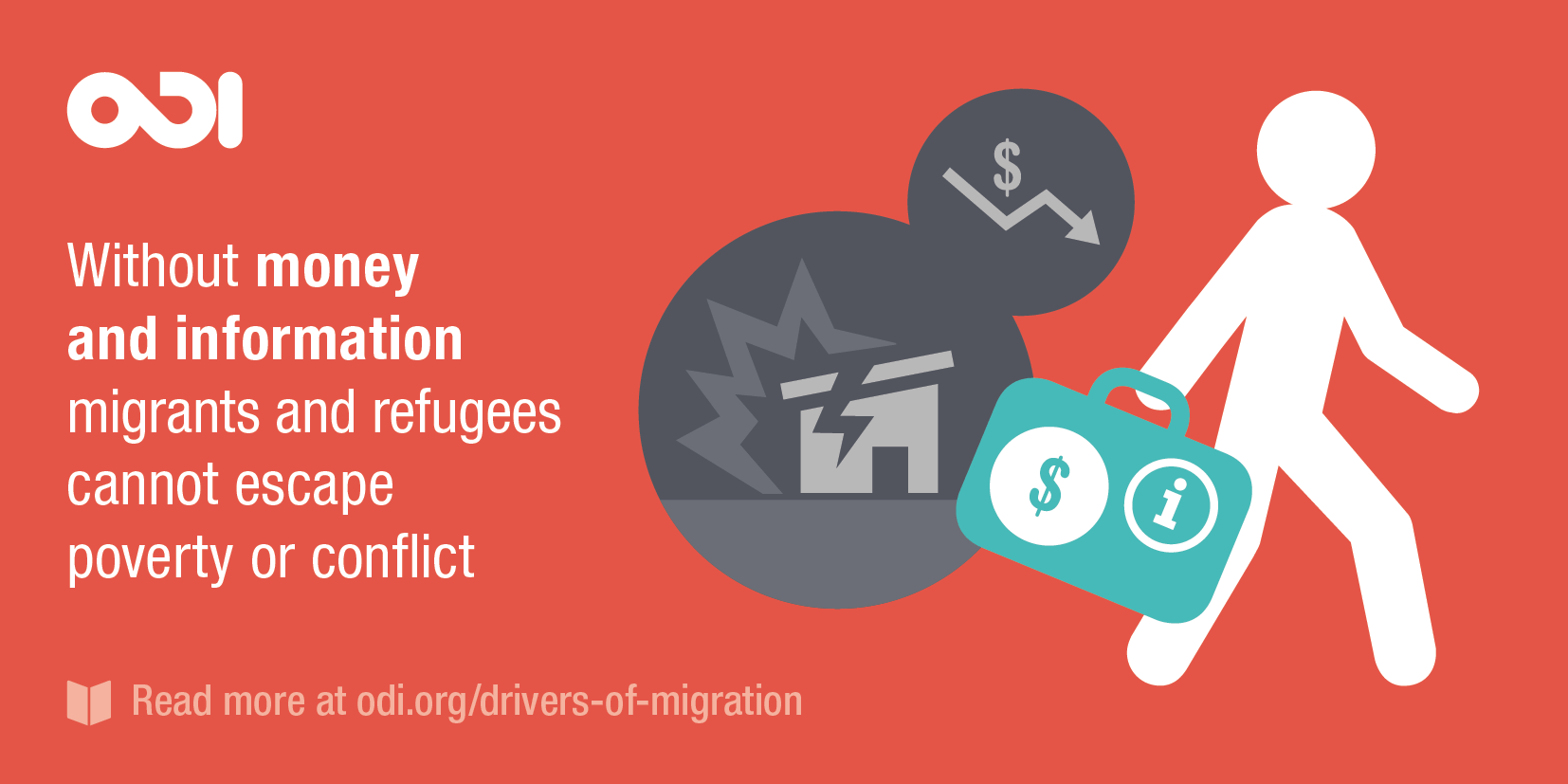 Illustration: without money and information, migrants and refugees cannot escape poverty or conflict