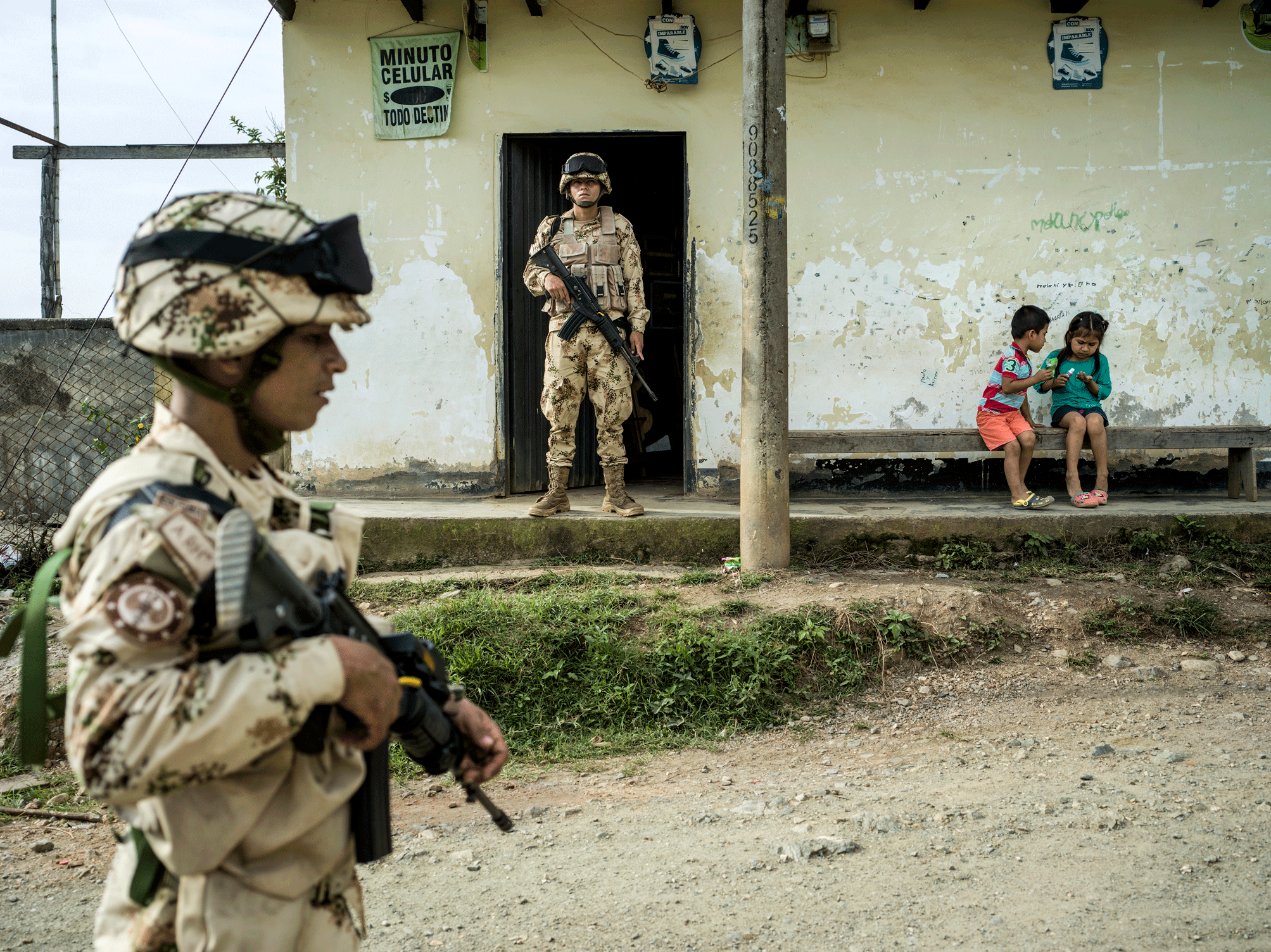 Armed soldiers from the Colombian national army stationed near Corinto as part of the UN mission as prescribed by the peace accord between the Colombian government and the FARC