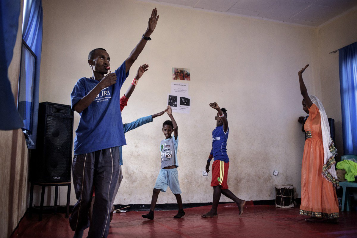 Asmelash, 32, has lived in the Adi Harush camp for more than a year and recently began teaching drama to younger refugees.
