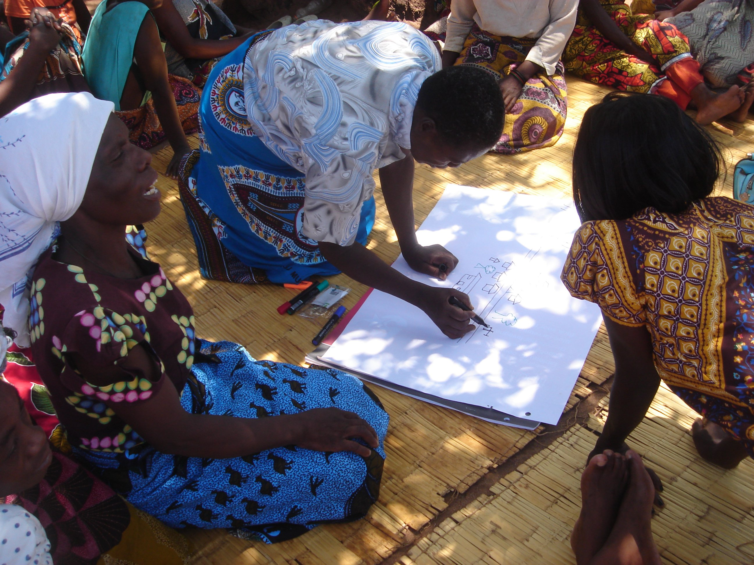 A women's focus group maps their village and surrounding environment, including different water sources. Kambwiri village, Salima district, Malawi. Photo: Naomi Oates/ODI