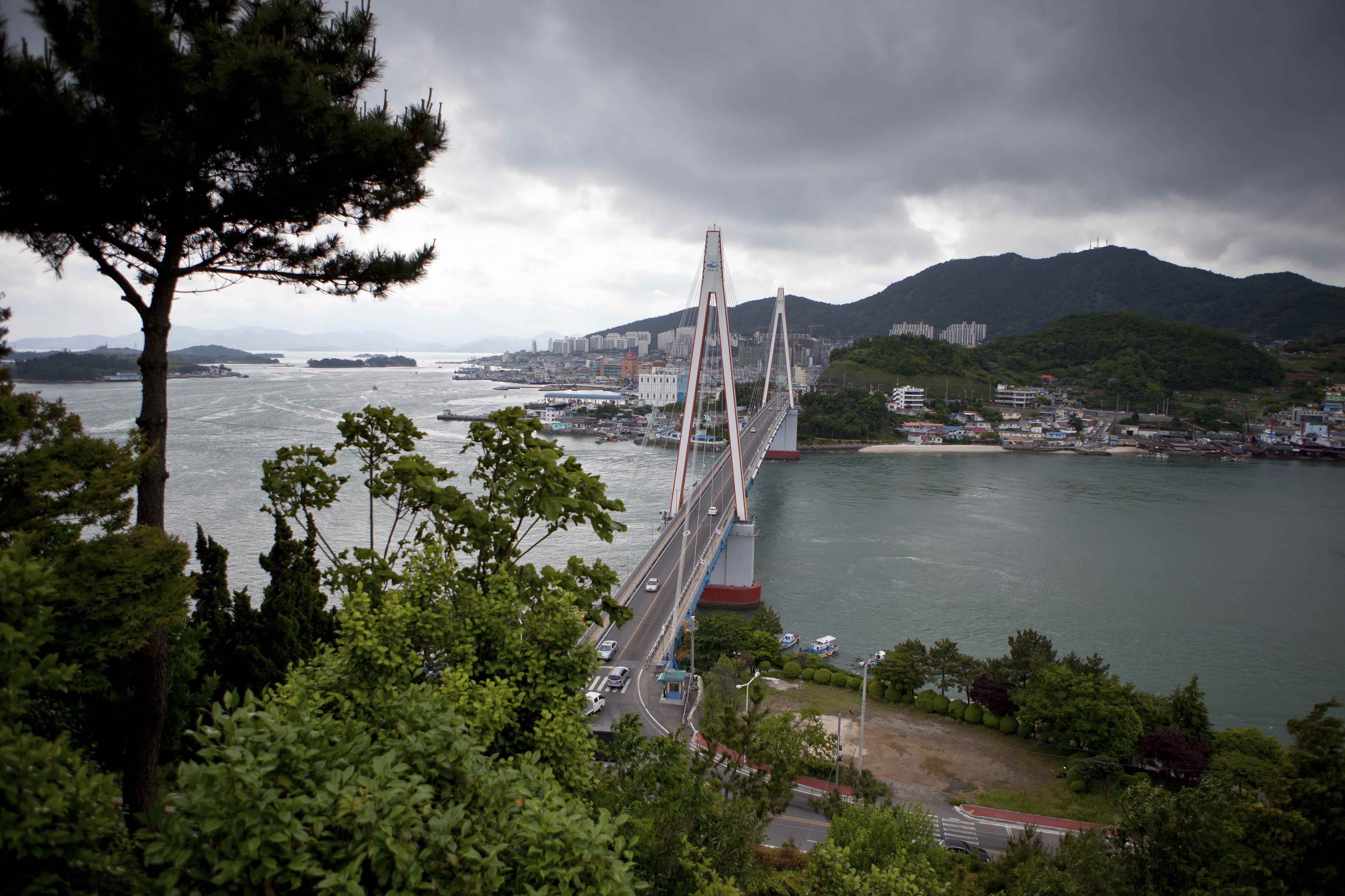 Dolsan Bridge in Yeosu, South Jeolla Province, Republic of Korea