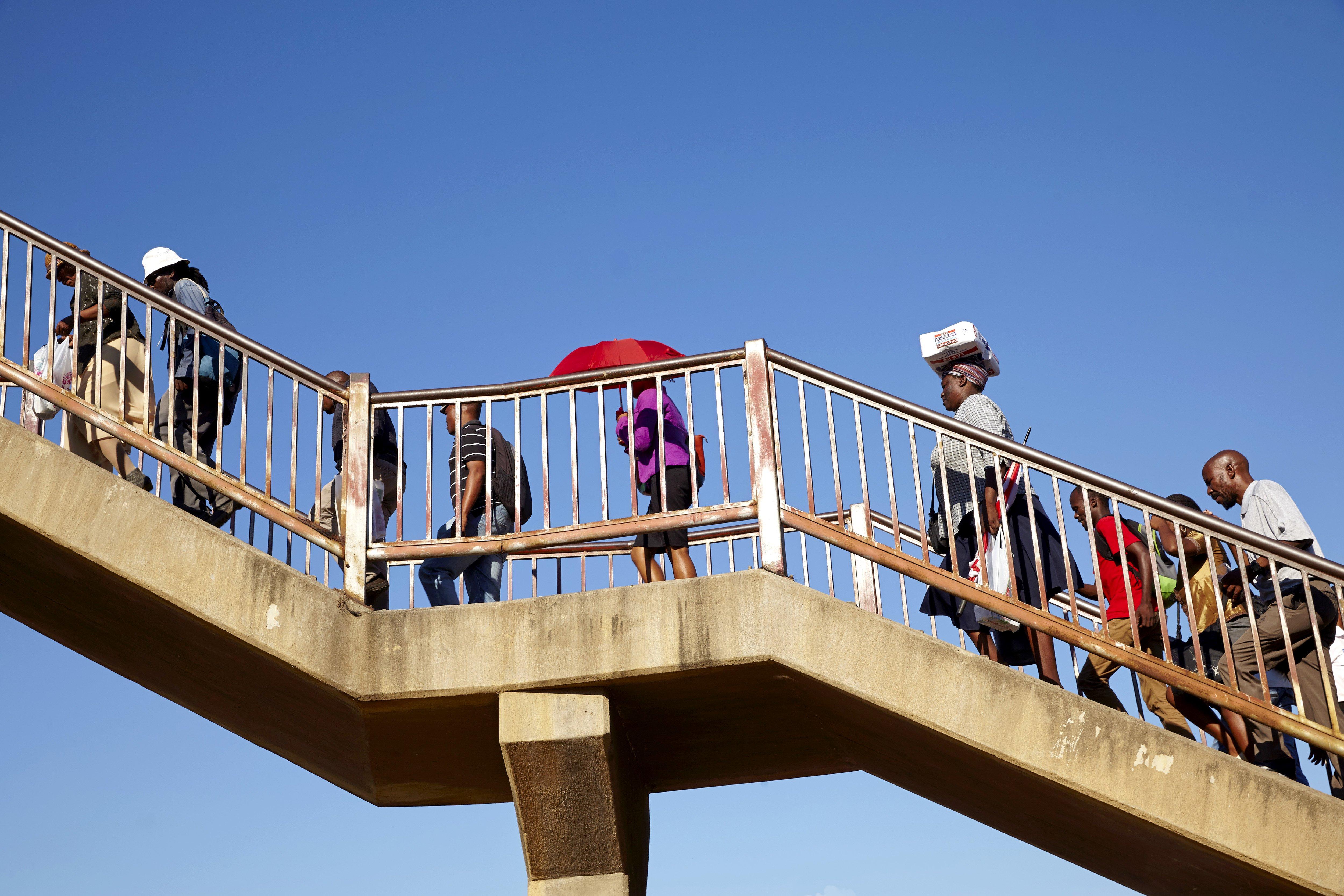 A pedestrian bridge in Gaborone, Botswana