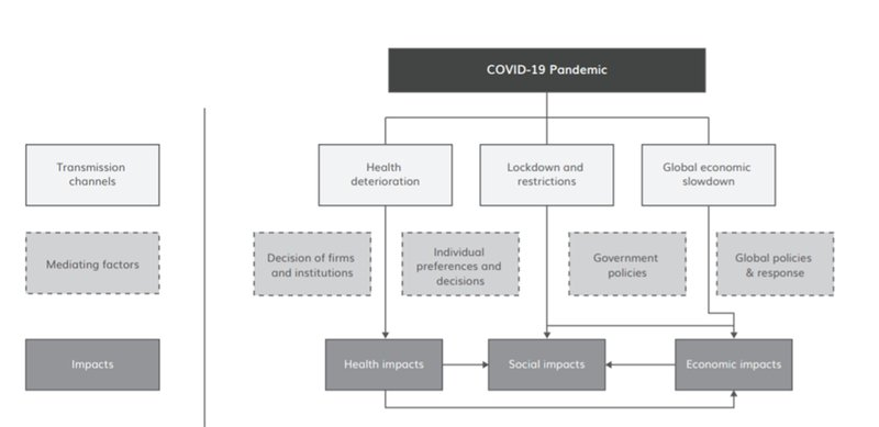 Figure 4: Transmission channels of the Covid-19 pandemic in lower-income countries. Showing the relationship between transmission channels, mediating factors and health, social and economic impacts.