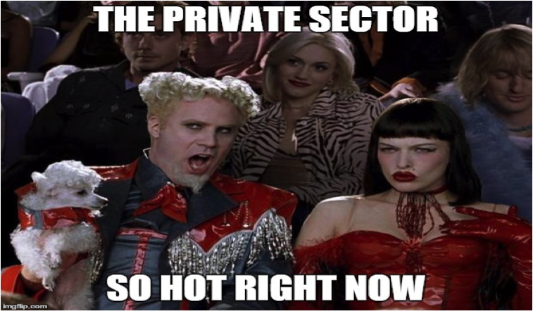 Zoolander meme: the private sector - so hot right now