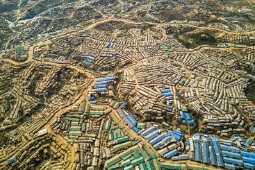 An aerial view of Kutupalong Refugee Camp and Camp Extension, Bangladesh.