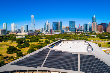Aerial view of a solar array in Austin, Texas.