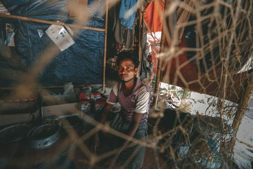 A displaced man living in Unchiprang camp, Cox's Bazar, Bangladesh
