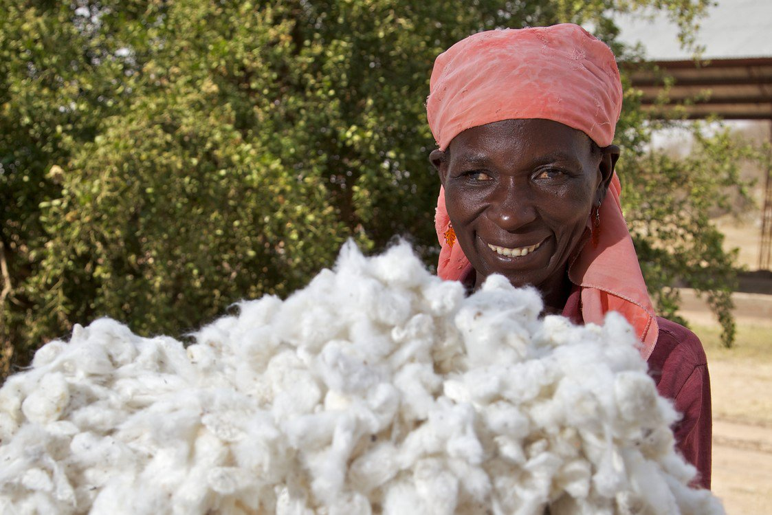 Women smiling with cotton
