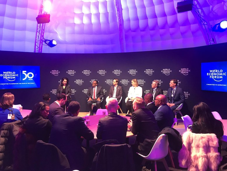Speakers at the 'Ethiopia on the rise' event (from left to right): Sara Pantuliano, Chief Executive, ODI; Demeke Mekonnen Hassen, Deputy Prime Minister, Ethiopia; Dominic McVey, CEO, Hela; Kelly Clements, United Nations Deputy High Commissioner for R